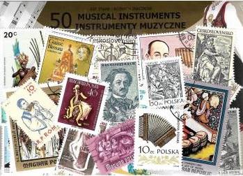Súprava 50 poštovných známok - Hudobné nástroje