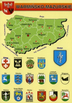 Voivodeship Warmian-Masurská mapa Herby WR798 10ks.
