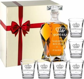 Carafe s gravírovaním 6 okuliarov s rytrom pre whisky