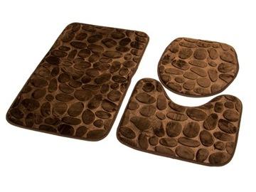 SADA KÚPEĽŇOVÝCH ROHOŽÍ 3D HNEDÉ kamene