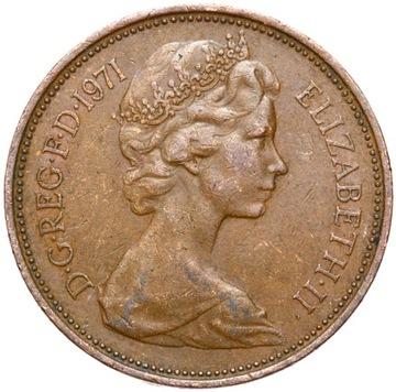 Anglicko - Elżbieta II - 2 peny nový pence 1971