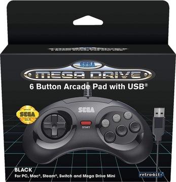 Sega Mega Drive Mini Oficiálna Pad Black USB PC PS3