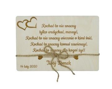 KARTA NA Gravírovanie Valentína NA DREVO RUSTIC