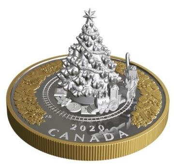Kanada 2020 50 € Vianočné Vianočné Vianočné Tree Coin Railway