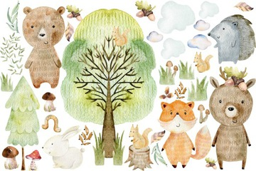 Samolepky na stenu lesné zvieratá FORESTLAND XL