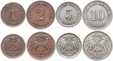 Nemecko Empire Set 1 2 5 10 Pfennig 1890-1916