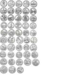 USA Parky - Sada všetkých 56 mincí Mint P