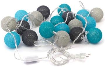 Sieťové žiarovky Cotton Balls 20 LED guličiek 6cm 3m sieť