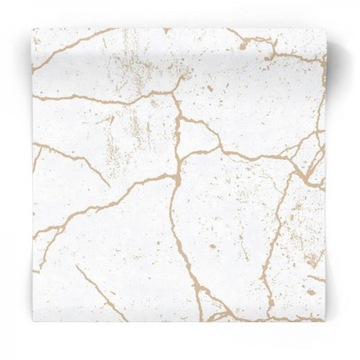 Tapeta z prasknutého mramoru so zlato-bielou GLAMOUR