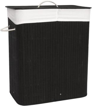 Umývanie košík Kontajner 2 Komory Bambusové čierne podkrovie