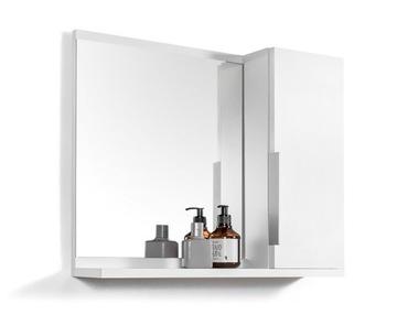 Biela skrinka so zrkadlom. Kúpelňová skrinka s policami