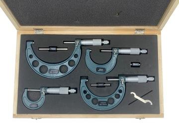 Sada 4 položiek Microomy 0-100mm Micrometer + BOX