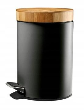Kôš na odpadky do kúpeľne, 3l, kov, bambus, čierna