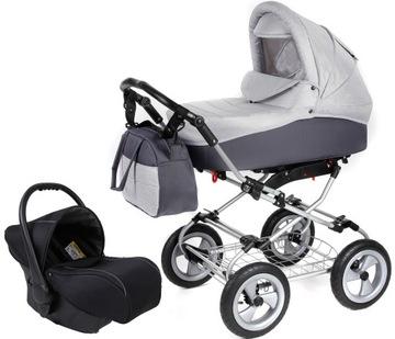 Hlboký vozík na hliníkových pásoch Nafúknuté kolesá + sedadlá