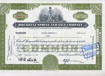 Rockwell Spring & Axle CO 1957 R 2 akcie