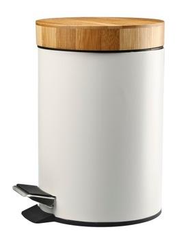 Kovový moderný bambusový kôš 3l biely