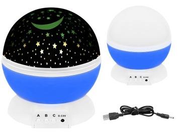 Rotujúca nočná lampa, projektor s 360. hviezdnou oblohou