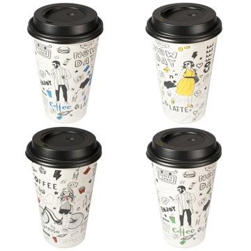 Papierové kelímky na kávu 400ml ND + viečka - 50ks