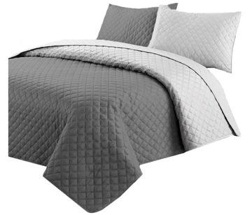 Obojstranný prešívaný prehoz na posteľ 220x240 kockovaná farebná deka