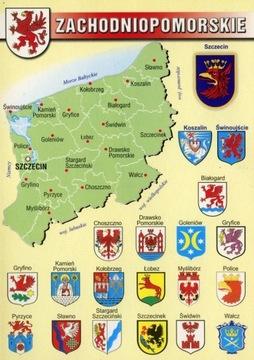 West Pomeranian vojvodstvo 10 ks. Mapa Herby WR797