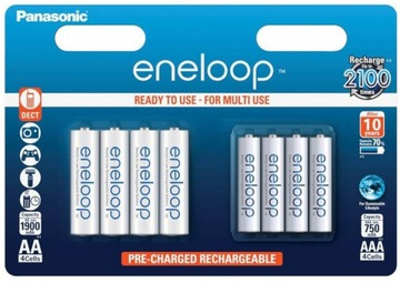 4 + 4 Panasonic ENLOOP R6 / AA R03 / AAA Batéria