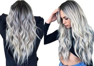 Parochňa ombre šedá blond dlhé vlasy vlny