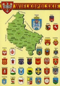 Väčšie Poľsko Voivodeship Mapa Herby WR804
