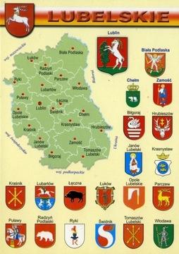 Lublinské vojvodstvo 10ks. Mapa Herby WR800