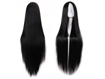Čierna parochňa brunetka rovné vlasy cosplay 100 cm