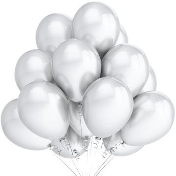 Kovové balóniky biele 37cm prijímané 25 ks.