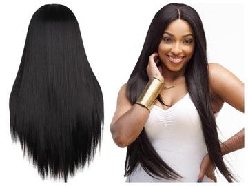 Dlhá parochňa rovná vlasová čierna brunetka 70 cm