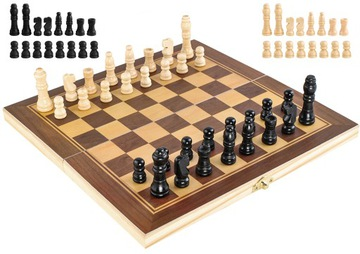 Klasická drevená ŠACHOVÁ hra v BOXovom kufríku