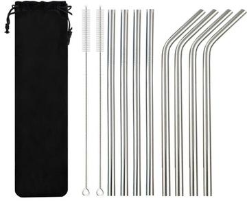 8x opakovane použiteľné slamky Eco Metal Tubes + čističe
