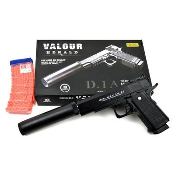 Pištoľ Colt, kovový tlmič, 800 BB zdarma