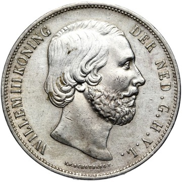 + Holandsko William III - 2 1/2 Gulden 1870 striebro