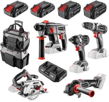 GRAPHITE Sada bezuhlíkových nástrojov 18V 4 batérie
