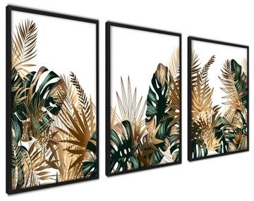 Plagáty v Golden Frame Leaves Triptych Modern XL