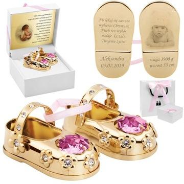 Ružové baletné topánky Krst Swarovski gravírovanie