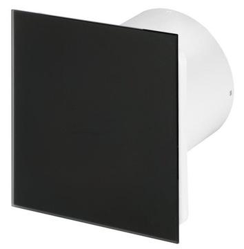 Kúpeľňa Ventilátor Panel Sklo Black Mat