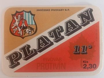 Štítok na pivo Platan