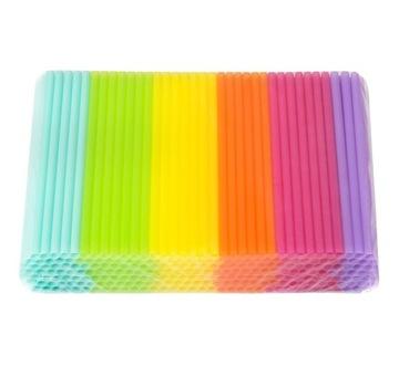Pastelové slamy jumbo mix farby 250 ks. Nápoje