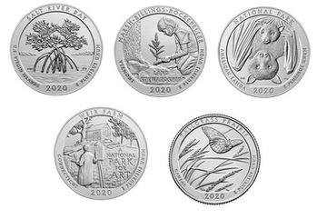 Americké parky - súbor mincí od roku 2020 Mint D