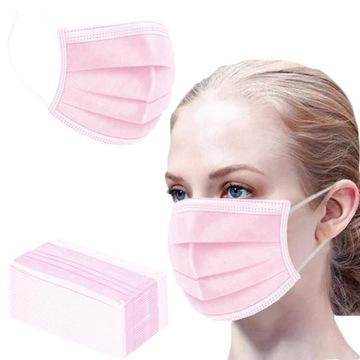 Maska 3-vrstvová ochranná maska 50 Pink PCS