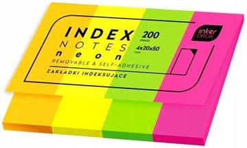 Indexovacie záložky INTERDRUK neón 200ks.
