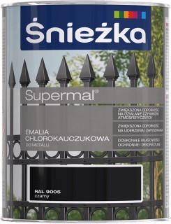 Farba ŚNIEŻKA SUPERMAL chlórovaná guma 0,9L ČIERNA