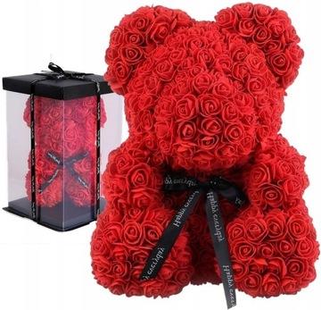 MEDVEĎ S RUŽÍM RUŽOVÝ MEDVEĎ 25cm Krabička s lupeňmi ruží
