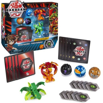BAKUGAN SET 5 Figurines + Ventus Pyrus Card