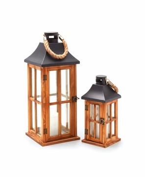 Lantern dekorácie, lucerna drevo dekorácie 2ks