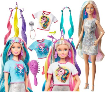 Bábika barbie postava účes syrena jednorožec