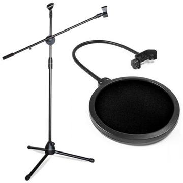 Mikrofón statív 2m + pop štúdiový filter saiba